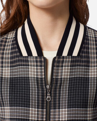 ADDITIONAL VIEW OF WOMEN'S ZIP FRONT PLAID BOMBER JACKET IN TAN/BLACK CHECK