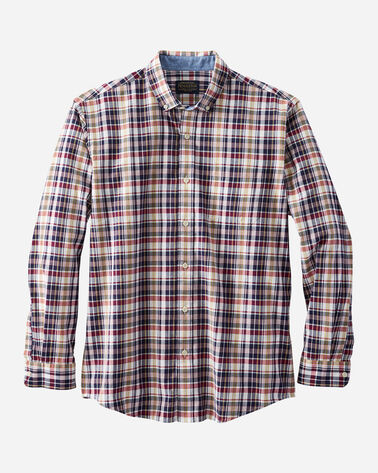 MEN'S LONG-SLEEVE MADRAS SHIRT IN NAVY/WHITE/RED PLAID