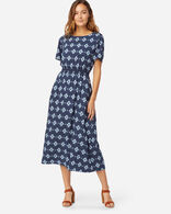 SHORT-SLEEVE PATTERNED MIDI DRESS IN NAVY
