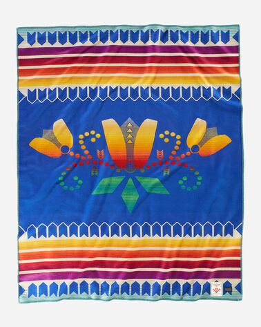 COURAGE TO BLOOM BLANKET, BLUE, large