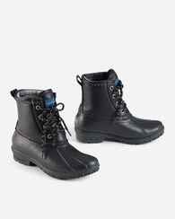LEATHER UPPERS DUCK BOOTS, BLACK, large
