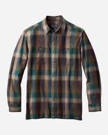 MEN'S WOOL FLANNEL SHIRT IN GREEN BROWN PLAID