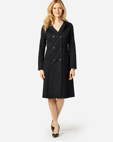 SEASONLESS WOOL FLORENCE COAT DRESS IN BLACK