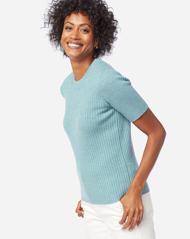 ALTERNATE VIEW OF WOMEN'S SHORT-SLEEVE MERINO RIB PULLOVER IN DUSTY AQUA HEATHER