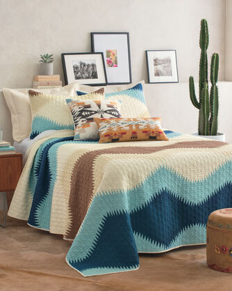 ADDITIONAL VIEW OF SAGUARO PRINTED QUILT SET IN AQUA/NAVY