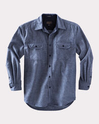 FITTED ULTRAFINE MERINO MAVERICK SHIRT, NAVY/GREY MIX, large