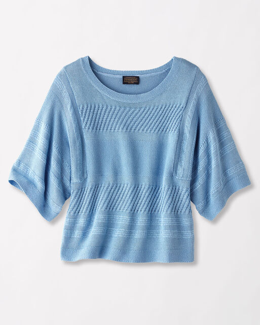 MIXED MEDIA PULLOVER, SKY BLUE, large