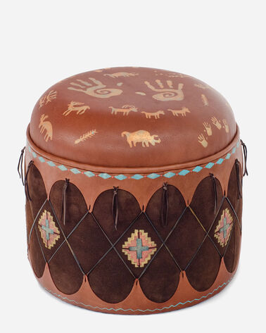 NEWSPAPER ROCK OTTOMAN IN ACORN/CHOCOLATE