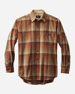 MEN'S FITTED ELBOW-PATCH TRAIL SHIRT IN PUMPKIN/BROWN OMBRE