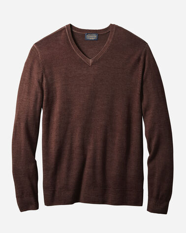 MEN'S MAGIC-WASH MERINO V-NECK PULLOVER IN RUST