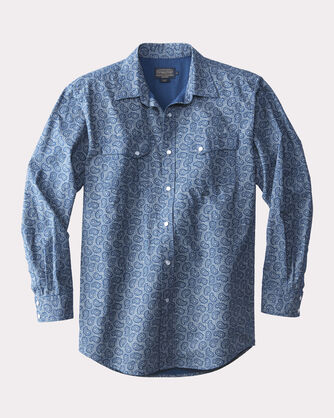 FITTED GAMBLER WESTERN SHIRT, BLUE PAISLEY, large