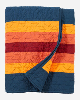 ALTERNATE VIEW OF CANYON RANCH PIECED QUILT IN BLUE MULTI