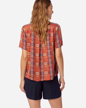 ALTERNATE VIEW OF WOMEN'S SHORT-SLEEVE PATTERNED SHIRT IN RED OCHRE