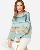 WOMEN'S HORIZON COTTON STRIPE SWEATER IN DUSTY AQUA/NAVY