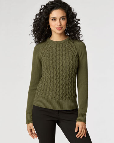 CONTRAST CABLE SWEATER