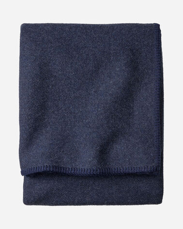 ECO-WISE WOOL SOLID BLANKET IN NAVY HEATHER