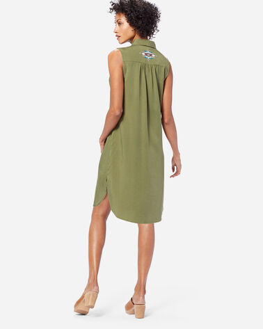SLEEVELESS MEDALLION DRESS, OLIVE, large