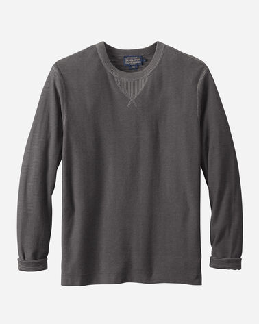 PIMA COTTON CREW SWEATER IN CHARCOAL