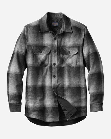 MEN'S QUILTED SHIRT JACKET IN CHARCOAL OMBRE
