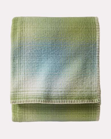 ECO-WISE OMBRE PLAID WOOL BLANKET, SPRING, large