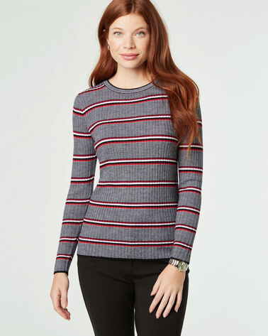 STRIPE MERINO CREWNECK PULLOVER, RED MULTI, large
