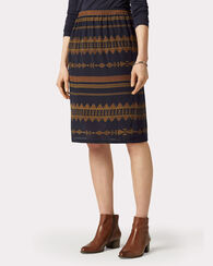 ANDREA SILK SKIRT, NAVY MULTI, large