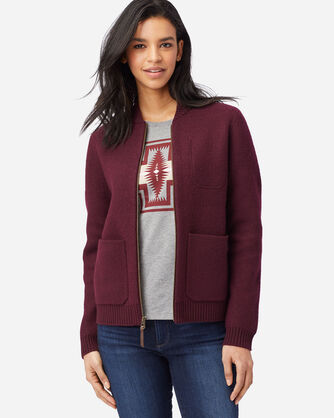 ALTERNATE VIEW OF WOMEN'S BOILED WOOL BOMBER JACKET IN WINE