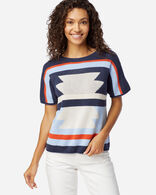 WOMEN'S GRAPHIC SHORT-SLEEVE SWEATER IN INDIGO