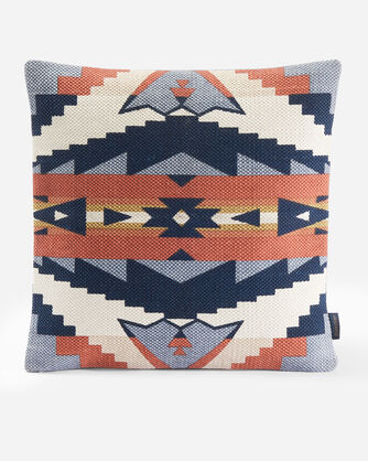 SIERRA RIDGE EMBROIDERED SQUARE PILLOW IN NAVY/COPPER