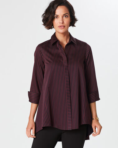 NON-IRON CASEY SATEEN STRIPE TUNIC, BURGUNDY/BLACK STRIPE, large