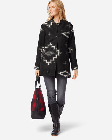 ADDITIONAL VIEW OF WOMEN'S WOOL TOPPER BLANKET COAT IN KIVA STEPS BLACK MIX
