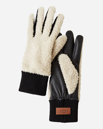 FAUX SHERPA GLOVES, NATURAL, large