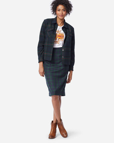 BLACK WATCH PENCIL SKIRT, BLACK WATCH TARTAN, large