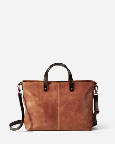 ADDITIONAL VIEW OF LEATHER ZIP TOTE IN TAN