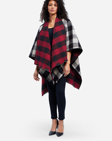 ADDITIONAL VIEW OF BUFFALO CHECK REVERSIBLE WOOL WRAP IN RED/CHARCOAL