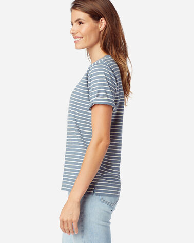 ALTERNATE VIEW OF WOMEN'S DESCHUTES STRIPE TEE IN FADED BLUE/ANTIQUE WHITE