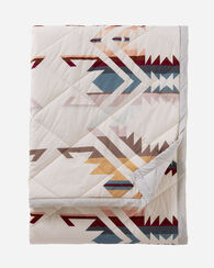 COTTON QUILTED THROW, WHITE SANDS, large
