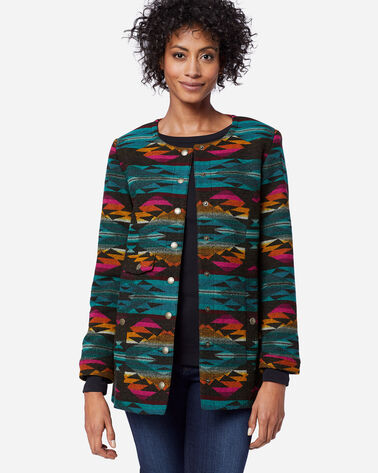 SUNRISE CROSS SNAP JACKET IN CACTUS BLOOM CHARCOAL