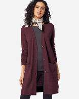 WOMEN'S TIMELESS MERINO LONG CARDIGAN IN RUSTIC PLUM HEATHER