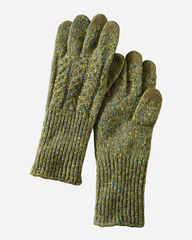 CABLE GLOVES IN GREEN