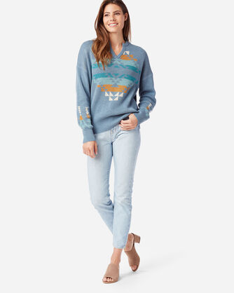 ALTERNATE VIEW OF WOMEN'S GRAPHIC COTTON SWEATER IN FADED BLUE