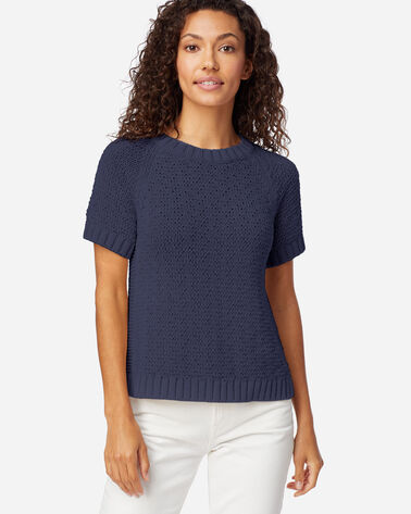 WOMEN'S SHORT-SLEEVE TEXTURED SWEATER IN INDIGO