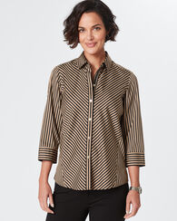 NON-IRON FALLON SATEEN STRIPE SHIRT, CAMEL/BLACK STRIPE, large