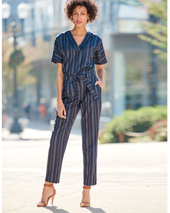 ADDITIONAL VIEW OF STRIPE WOOL BELTED HIGH WAIST PANTS IN NAVY