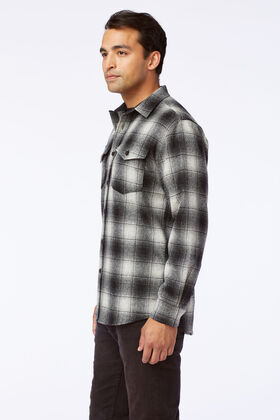 ALTERNATE VIEW OF GUIDE SHIRT IN NATURAL/BLACK PLAID