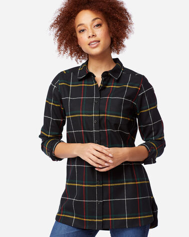 ULTRALUXE MERINO ONE POCKET TUNIC in BLACK WINDOWPANE