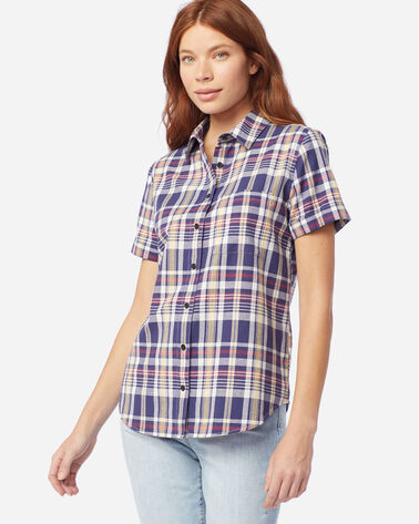 WOMEN'S SHORT-SLEEVE SEASIDE SHIRT IN NAVY/RED
