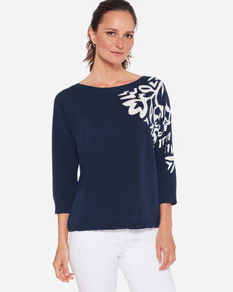 PLACED FLORAL PULLOVER, , large