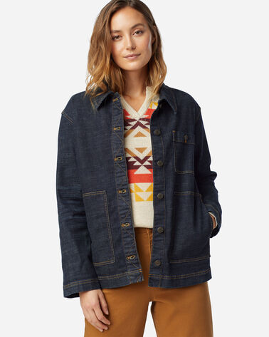 WOMEN'S EMBROIDERED DENIM JACKET IN DARK BLUE