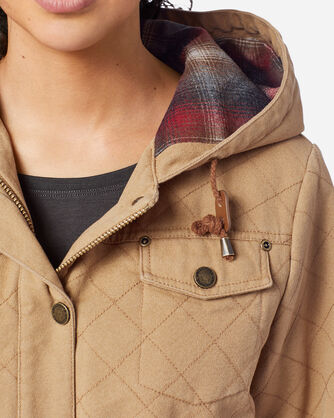 WOMEN'S SHELBY QUILTED HOODED ANORAK, CHAMOIS, large